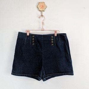 Modcloth high waisted sailor denim shorts